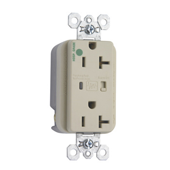 Pass & Seymour 8300-ISP 20 Amp 125 VAC 2-Pole 3-Wire NEMA 5-20R Ivory Nylon Surge Protective Duplex Receptacle