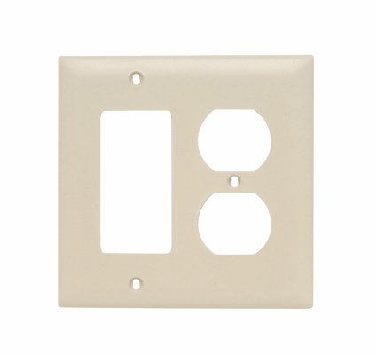 Pass & Seymour TP826-I 2-Gang 1-Duplex Receptacle 1-Decorator Ivory Nylon Standard Combination Unbreakable Wallplate