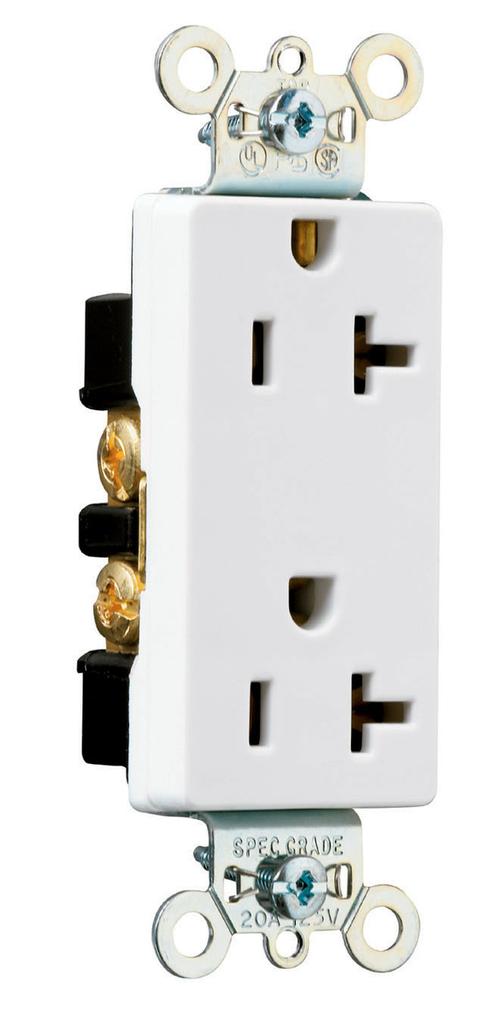 Pass & Seymour 26352-W 20 Amp 125 VAC 2-Pole 3-Wire NEMA 5-20R White Nylon Face Heavy Duty Duplex Decorator Receptacle