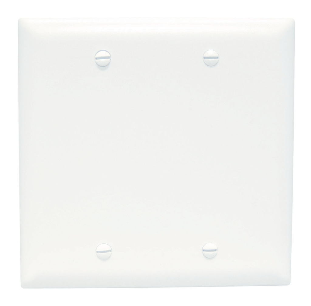 Pass & Seymour TP23-W 2-Gang Blank White Nylon Standard Unbreakable Wallplate