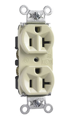 Mayer-Hard Use Spec Grade Receptacle, Back & Side Wire, 20A, 125V, Ivory-1