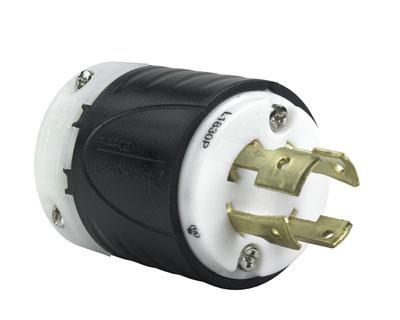 Pass & Seymour L1830-P 30 Amp 120/208 VAC Star 3-Phase 4-Pole 4-Wire NEMA L18-30P Black and White Nylon Straight Locking Plug