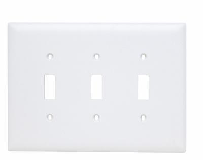Pass & Seymour TPJ3-W 3-Gang 3-Toggle Switch White Nylon Jumbo Unbreakable Wallplate