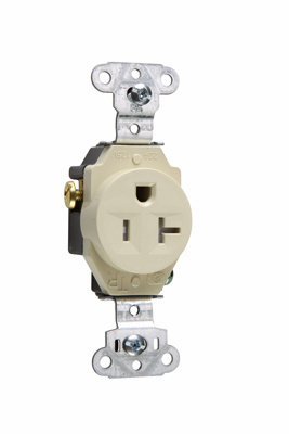 Pass & Seymour TR5351-I 20 Amp 125 VAC 2-Pole 3-Wire NEMA 5-20R Ivory Nylon Face Tamper-Resistant Single Receptacle