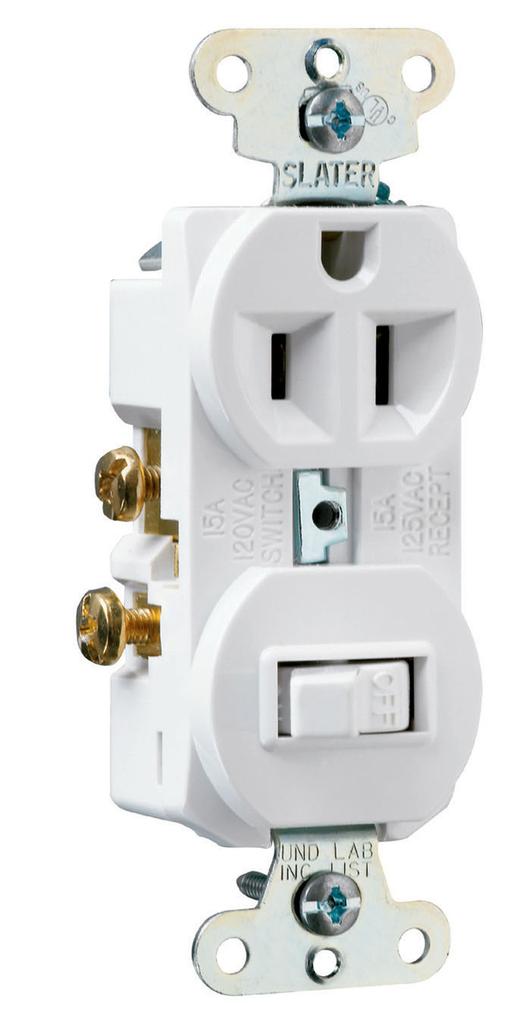 Pass & Seymour 691-W 15 Amp 120/125 VAC NEMA 5-15R White Combination 1-Pole Switch/Single Receptacle