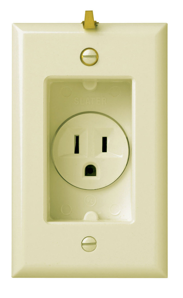 Pass & Seymour S3713-I 15 Amp 125 VAC 2-Pole 3-Wire NEMA 5-15R Ivory Recessed Straight Blade Clock Hanger Receptacle