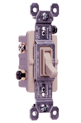 Pass & Seymour 663-LAG 15 Amp 120 VAC 3-Way Light Almond Thermoplastic Screw Mounting Grounding Toggle Switch