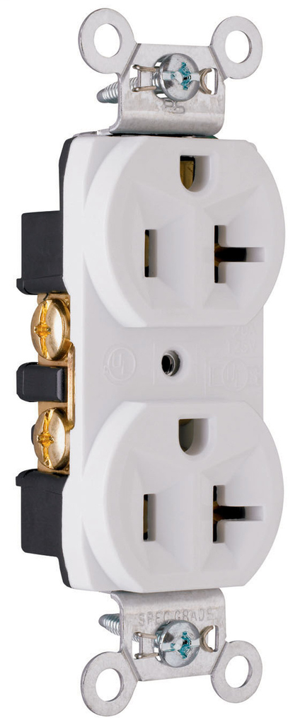Pass & Seymour CRB5362-W 20 Amp 125 VAC 2-Pole 3-Wire NEMA 5-20R White Nylon Face Duplex Straight Blade Receptacle