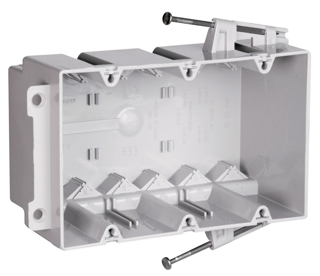 """Pass & Seymour S3-54-RAC 3-31/32 x 5-25/32 x 3"""" 54"""" 3-Gang Thermoplastic Switch and Outlet Box"""