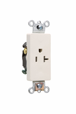 Pass & Seymour 26361-LA 20 Amp 125 VAC 2-Pole 3-Wire NEMA 5-20R Light Almond Nylon Face Heavy Duty Single Decorator Receptacle