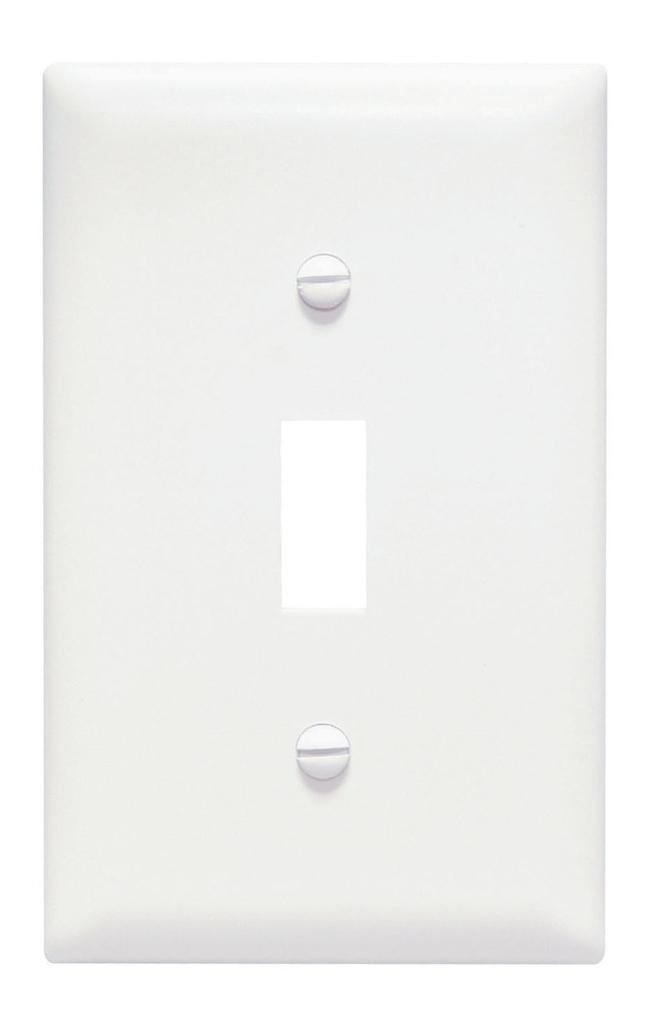 Pass & Seymour TP1-W 1-Gang 1-Toggle Switch White Nylon Standard Unbreakable Wallplate