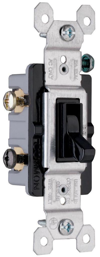 Pass & Seymour 663-BKG 15 Amp 120 VAC 3-Way Black Thermoplastic Toggle Switch