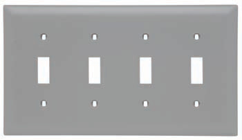 Pass & Seymour TP4-GRY 4-Gang 4-Toggle Switch Gray Nylon Standard Unbreakable Wallplate