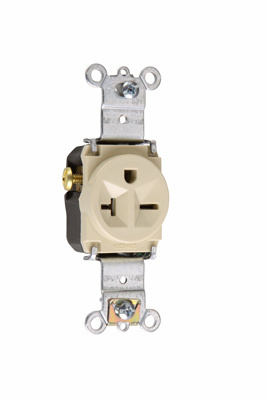 Pass & Seymour 5871-I 20 Amp 250 VAC 2-Pole 3-Wire NEMA 6-20R Ivory Nylon Face Thermoplastic Back Body Single Receptacle