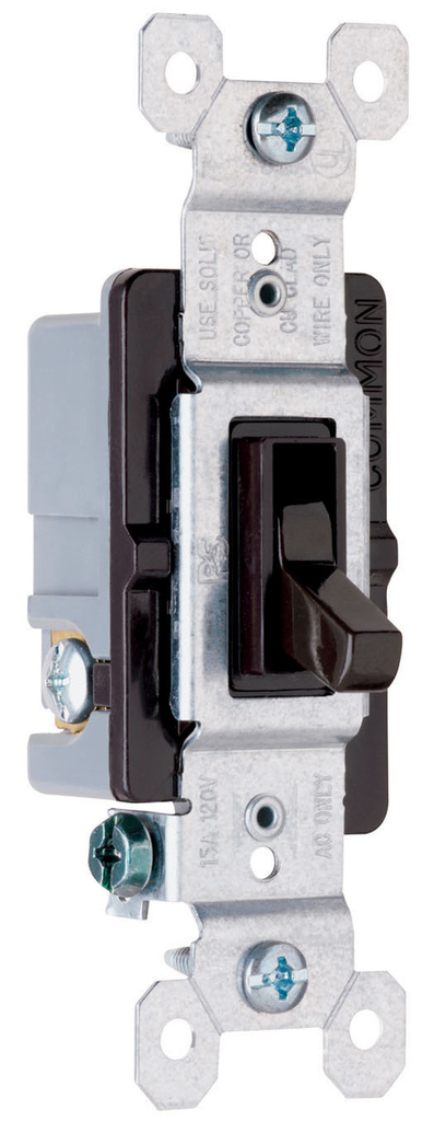 Pass & Seymour 663-G 15 Amp 120 VAC 3-Way Brown Thermoplastic Screw Mounting Grounding Toggle Switch