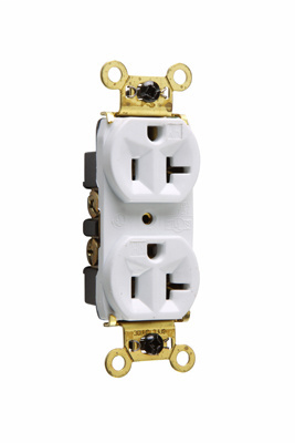 Pass & Seymour WR5362W Back and Side Wire 20 Amp 125 Volt White Weather-Resistant Heavy Duty Spec Grade Receptacles