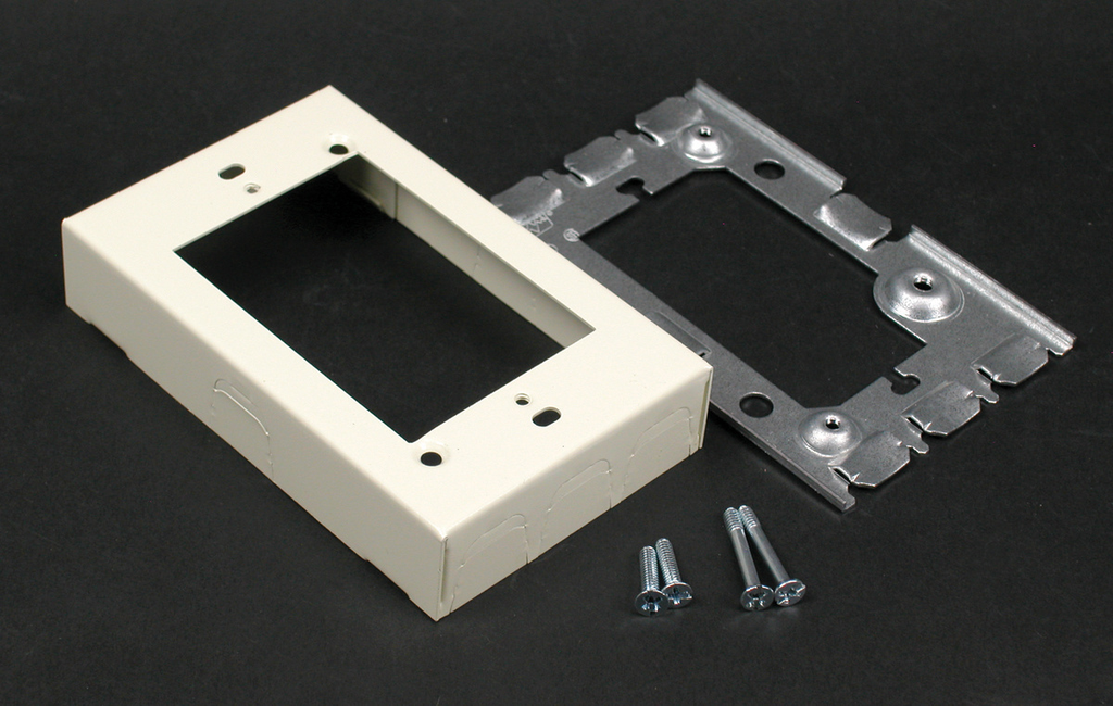 """Wiremold V5751 4-5/8 x 2-7/8 x 15/16"""" Ivory Steel 1-Channel Raceway 1-Gang Flush Type Extension Adapter"""