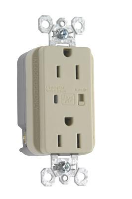 Pass & Seymour 5262-ISP 15 Amp 125 VAC 2-Pole 3-Wire NEMA 5-15R Ivory Nylon Surge Protective Duplex Receptacle