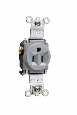 Pass & Seymour 5261-GRY 15 Amp 125 VAC 2-Pole 3-Wire NEMA 5-15R Gray Nylon Face Single Receptacle
