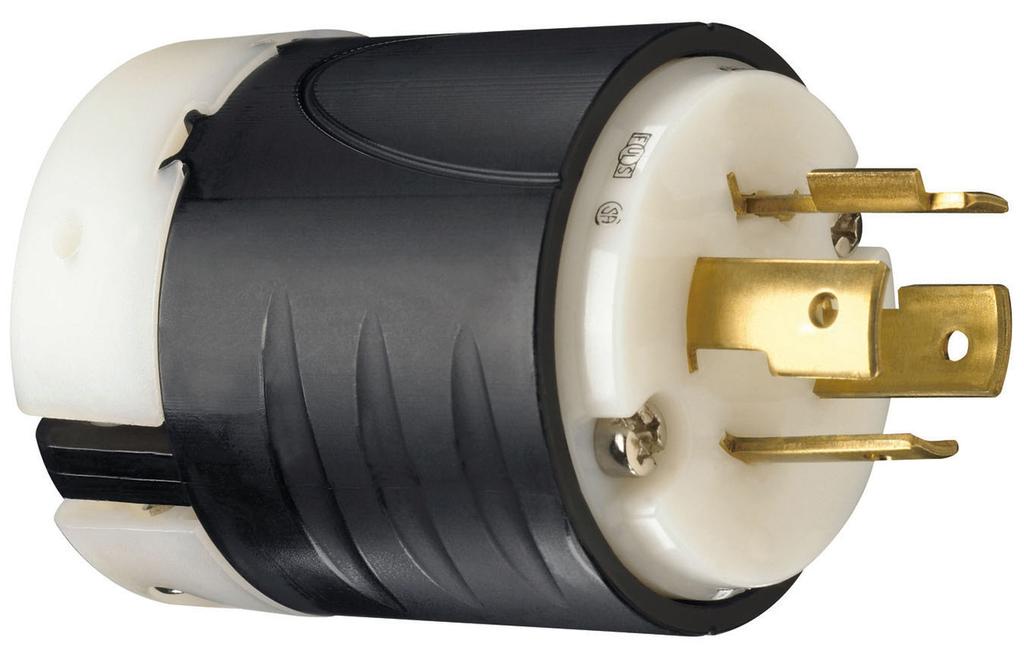 Pass & Seymour L1420-P 20 Amp 125/250 VAC 3-Pole 4-Wire NEMA L14-20P Black and White Nylon Straight Locking Plug