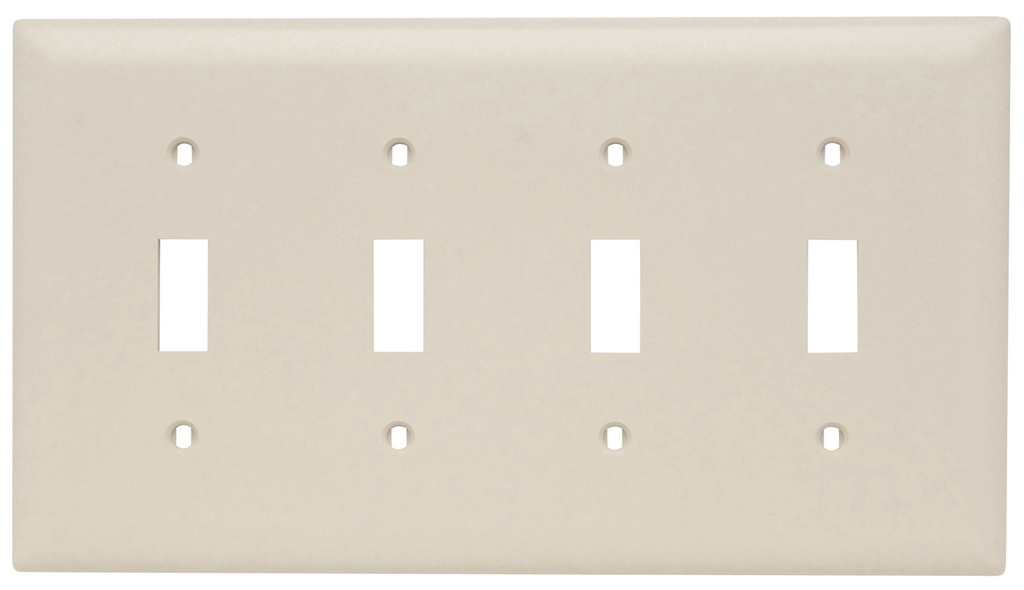 Pass & Seymour TP4-LA 4-Gang 4-Toggle Switch Light Almond Nylon Standard Unbreakable Wallplate