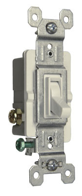 Pass & Seymour 663-SWG 15 Amp 120 VAC 3-Way White Thermoplastic Screw Mounting Self Grounding Toggle Switch