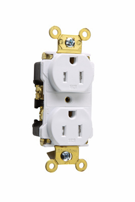 Pass & Seymour TR62-W 15 Amp 125 VAC 2-Pole 3-Wire NEMA 5-15R White Nylon Tamper-Resistant Duplex Receptacle