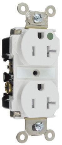 Pass & Seymour TR63-HW 20 Amp 125 VAC 2-Pole 3-Wire NEMA 5-20R White Nylon Tamper-Resistant Duplex Receptacle