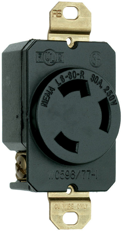 Pass & Seymour L630-R 30 Amp 250 VAC 2-Pole 3-Wire NEMA L6-30R Impact-Resistant Nylon Locking Single Receptacle
