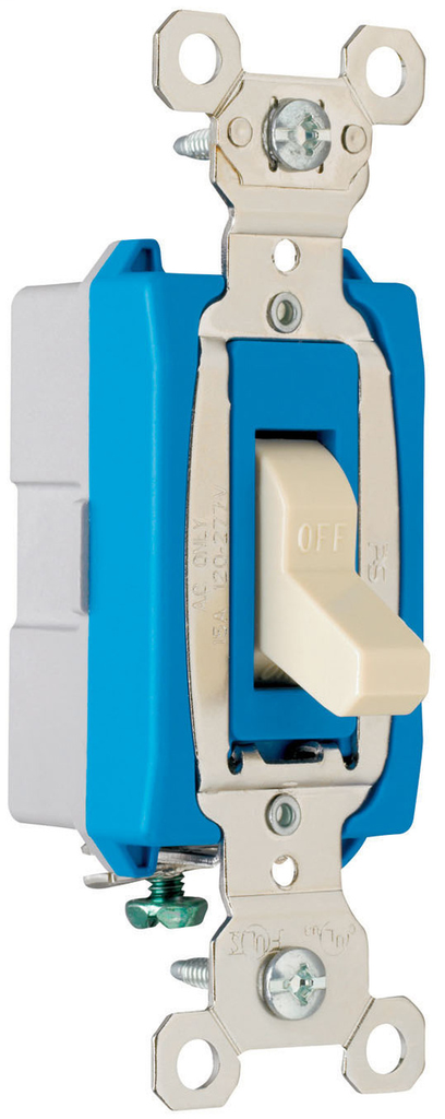 Pass & Seymour PS15AC1-I 15 Amp 120/277 VAC 1-Pole Ivory Glass Reinforced Nylon Screw Mounting Toggle Switch