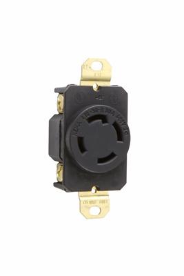 Pass & Seymour L1630-R 30 Amp 480 VAC 3-Phase 3-Pole 4-Wire NEMA L16-30R Impact Resistant Nylon Locking Single Receptacle