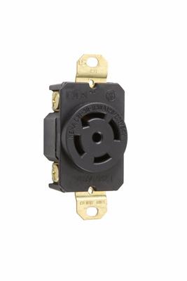 Pass & Seymour L2130-R 30 Amp 120/208 VAC 3-Phase 4-Pole 5-Wire NEMA L21-30R Impact Resistant Nylon Locking Single Receptacle