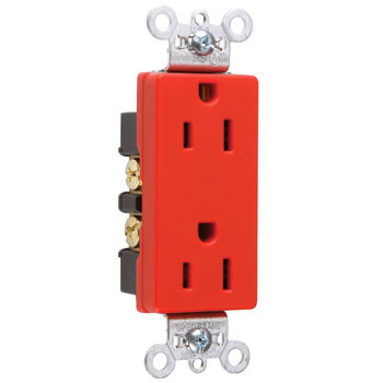 DECO DUP RECEP 15A 125V B+S WIRE RED