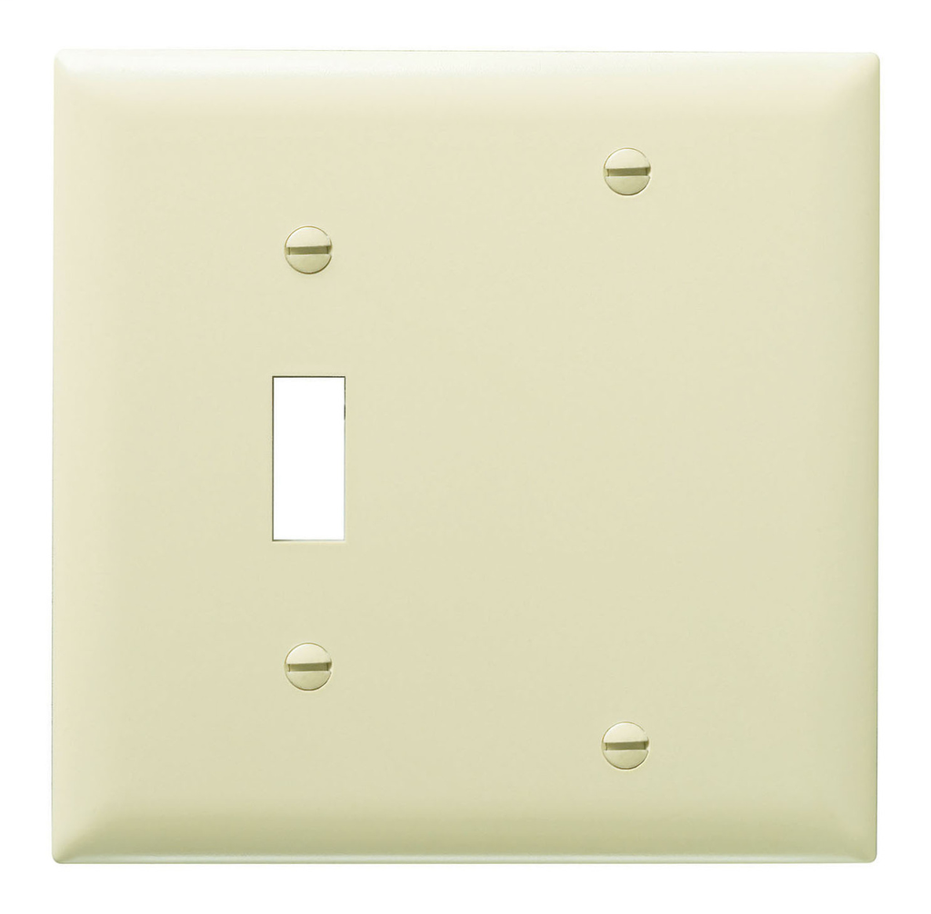 Pass & Seymour TP113-I 2-Gang 1-Toggle 1-Blank Ivory Nylon Standard Combination Unbreakable Wallplate