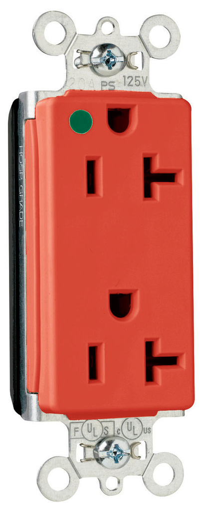 Pass & Seymour PT26362-HGRED PlugTail 20 Amp 125 Volt Red Hospital Grade Duplex Decorator Receptacle