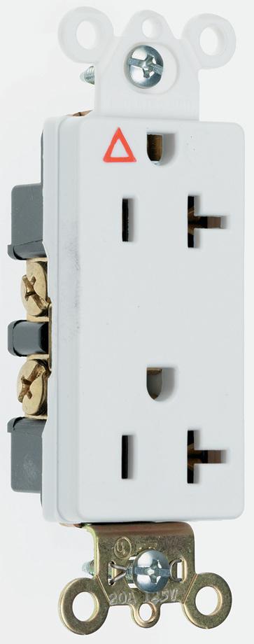 Pass & Seymour IG26362-I 20 Amp 125 VAC 2-Pole 3-Wire NEMA 5-20R Ivory Nylon Face Duplex Decorator Isolated Ground Receptacle