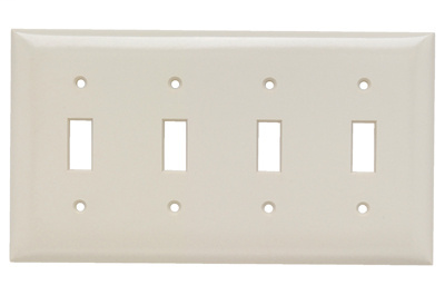 Pass & Seymour SP4-LA 4-Gang 4-Toggle Light Almond Smooth Thermoset Plastic Standard Wallplate