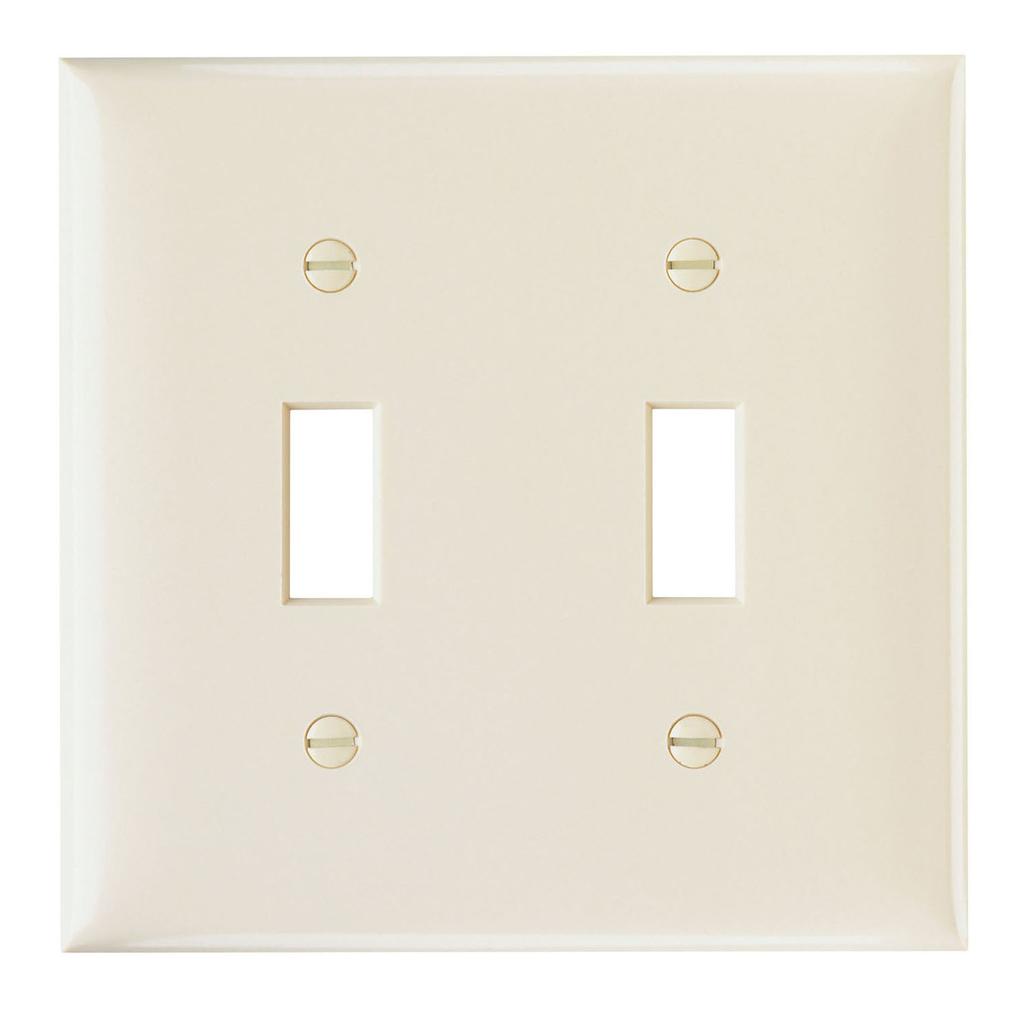 Pass & Seymour SP2-LA 2-Gang 2-Toggle Light Almond Smooth Thermoset Plastic Standard Wallplate