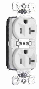 Pass & Seymour PTTR5362W 20 Amp 125 Volt White PlugTail Tamper Resistant Spec Grade Receptacles