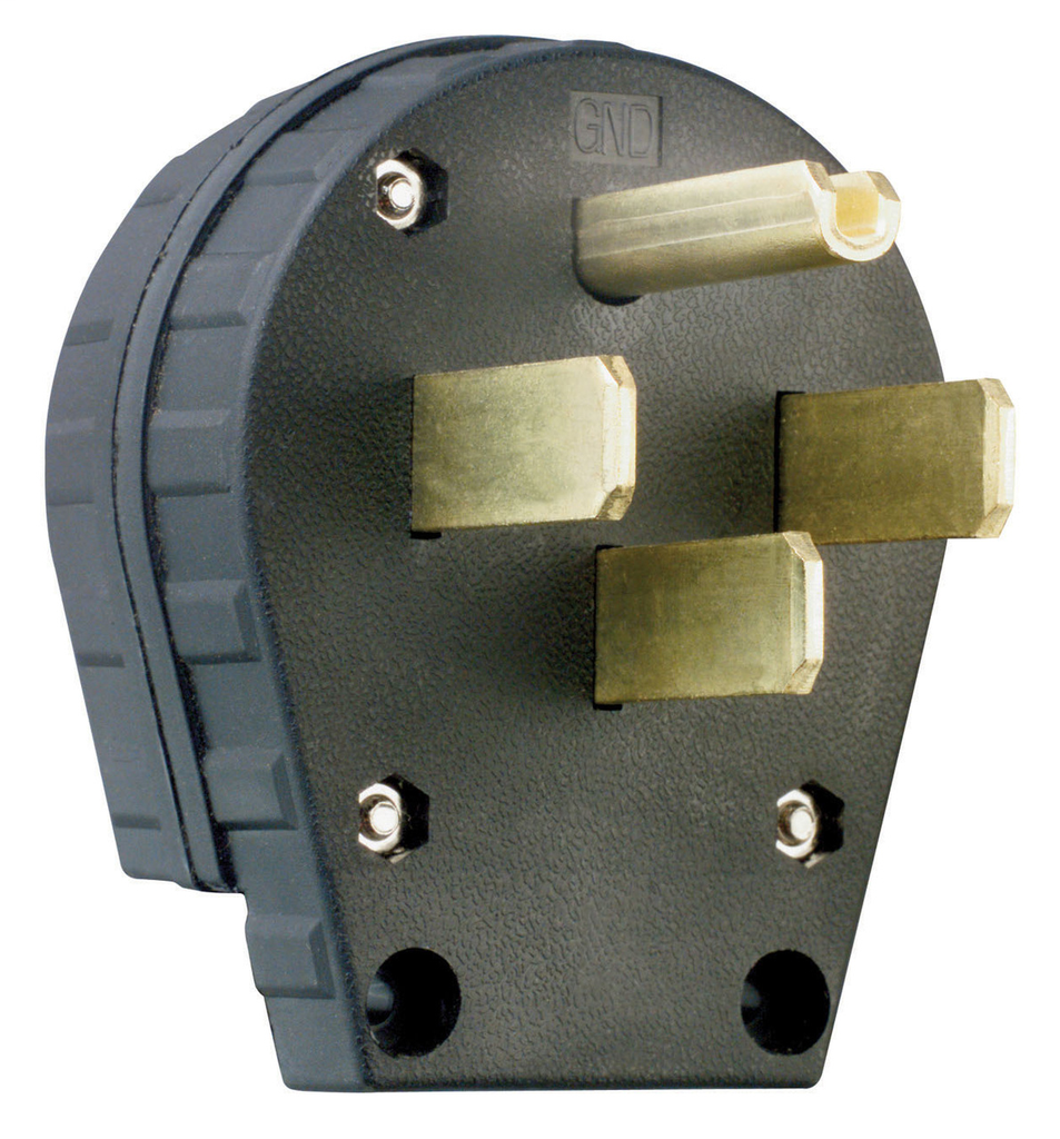 Pass & Seymour 3867 30/50 Amp 125/250 VAC 3-Pole 4-Wire NEMA 14-30P/14-50P Black Grounding Angled Straight Blade Plug