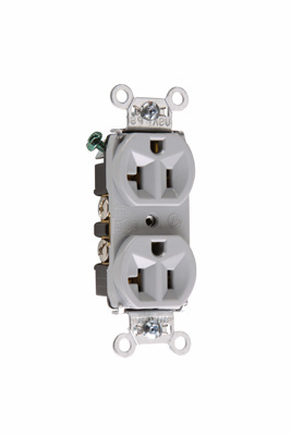Pass & Seymour 5362-W 20 Amp 125 VAC 2-Pole 3-Wire NEMA 5-20R White Nylon Duplex Receptacle