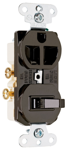 Mayer-15A, 120/125V Combination Single-Pole Switch & Single Receptacle, Brown-1