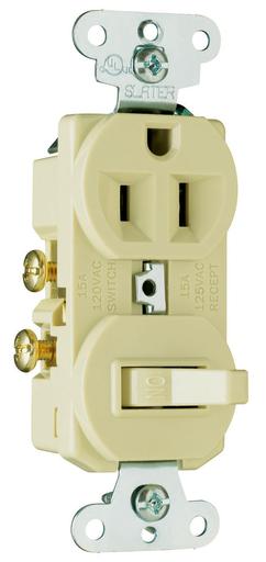 Mayer-15A, 120/125V Combination Single-Pole Switch & Single Receptacle, Ivory-1