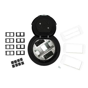 Mayer-6AT Prewired Evolution™ Poke Thru Device, Flush Style Cover, Black-1