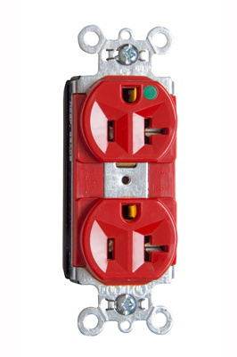 Mayer-PlugTail® Heavy-Duty Compact Design Hospital-Grade Duplex Receptacle, Red-1