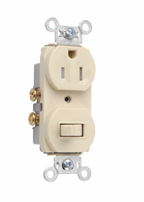 Mayer-15A, 120/125V Combination Single-Pole Switch & Tamper-Resistant Single Receptacle, Ivory-1