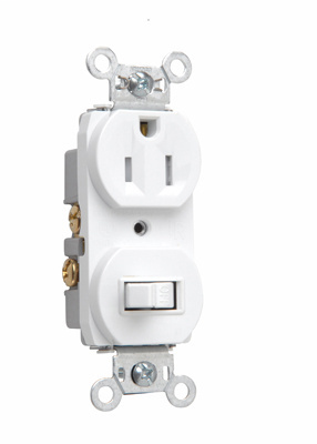 Mayer-15A, 120/125V Combination Single-Pole Switch & Tamper-Resistant Single Receptacle, White-1
