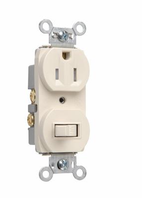 Mayer-15A, 120/125V Combination Single-Pole Switch & Tamper-Resistant Single Receptacle, Light Almond-1