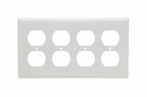 Duplex Receptacle Openings, Four Gang, White