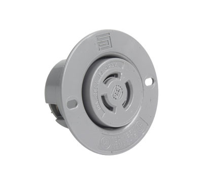 Non-NEMA 3 Wire Flanged Outlet, Gray